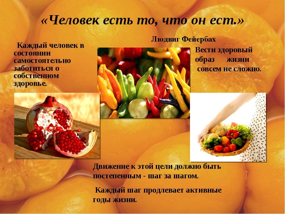 «Человек есть то, что он ест.» Людвиг Фейербах Каждый человек в состоянии сам...