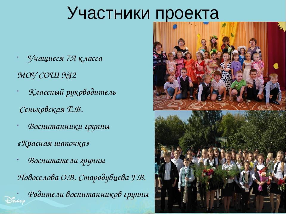 Участники проекта Учащиеся 7А класса МОУ СОШ №12 Классный руководитель Сенько...