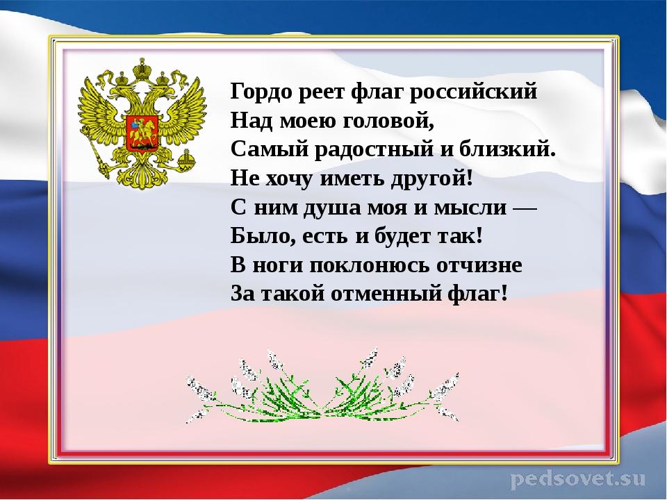 Гордо реет флаг российский Над моею головой, Самый радостный и близкий. Не хо...