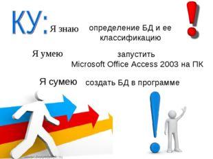 Я знаю Я умею Я сумею определение БД и ее классификацию запустить Microsoft O