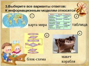 3.Выберите все варианты ответов: К информационным моделям относятся 1 карта м