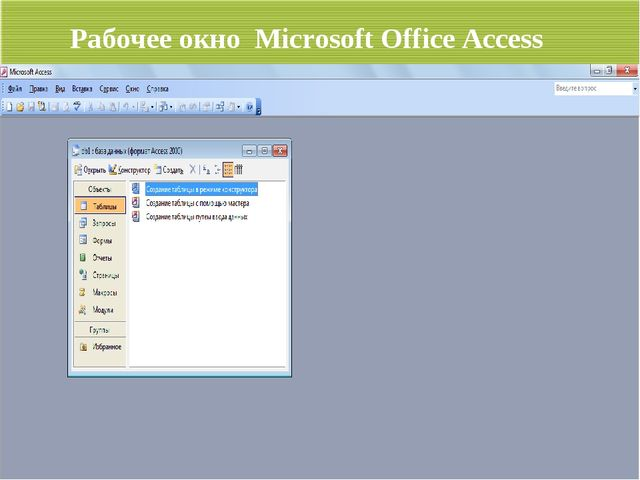 Рабочее окно Microsoft Office Access