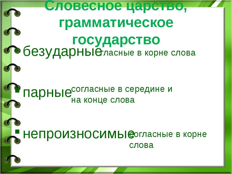 Словесное царство, грамматическое государство безударные парные непроизносимы...