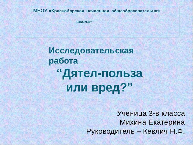 МБОУ «Красноборская начальная общеобразовательная школа» Исследовательская р...
