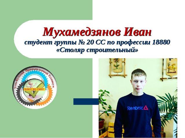 Мухамедзянов Иван студент группы № 20 СС по профессии 18880 «Столяр строитель...