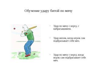 Обучение удару битой по мячу Удар по мячу с верху, с набрасыванием. Удар низо