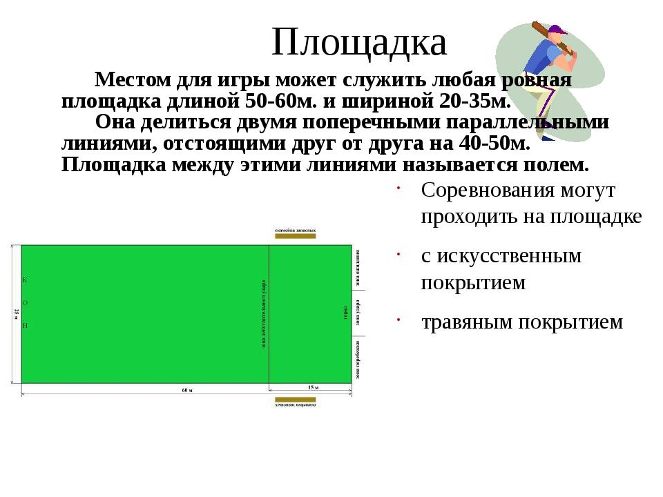 Площадка Соревнования могут проходить на площадке с искусственным покрытием т...