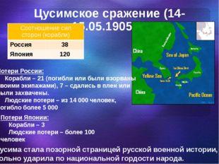Цусимское сражение (14-15.05.1905 г.) Потери России: Корабли – 21 (погибли ил
