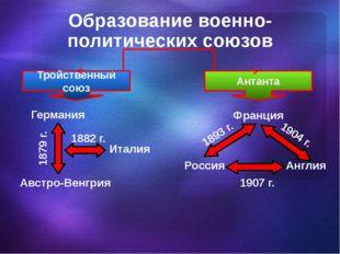 Образование военно-политических союзов Тройственный союз Антанта Германия Авс