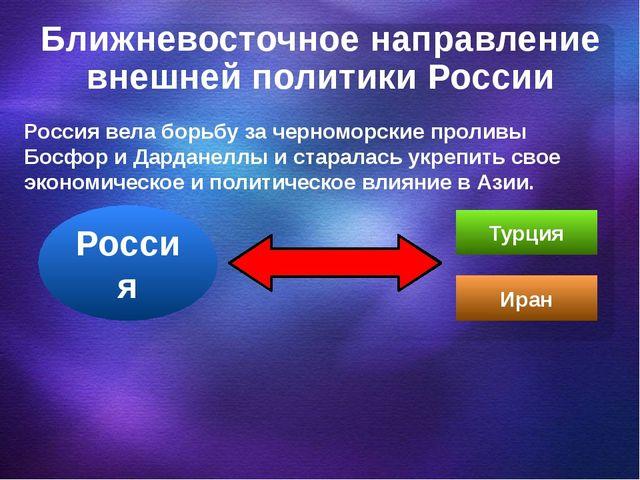 Ближневосточное направление внешней политики России Россия вела борьбу за чер...
