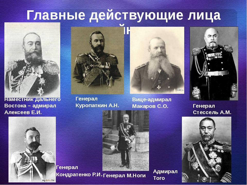 Главные действующие лица войны Наместник Дальнего Востока – адмирал Алексеев...