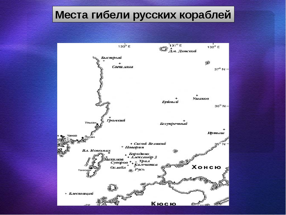 Места гибели русских кораблей