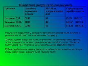 Оновлення результатів розрахунків Результати розрахунків у комірці вставляють