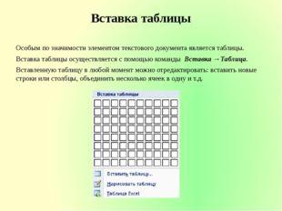 Вставка таблицы Особым по значимости элементом текстового документа является
