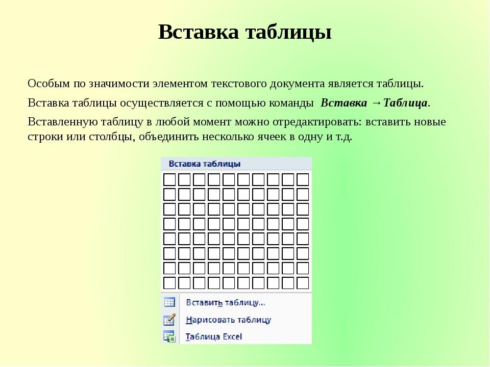 Вставка таблицы Особым по значимости элементом текстового документа является...