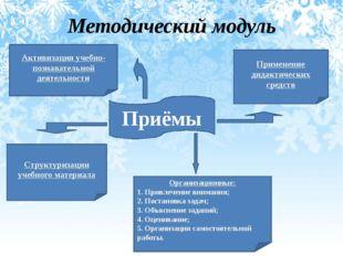 Методический модуль Приёмы Организационные: 1. Привлечение внимания; 2. Поста