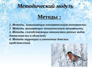 Методический модуль Методы : 1. Методы, повышающие познавательную активность;