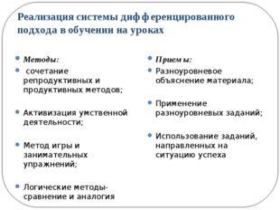 Реализация системы дифференцированного подхода в обучении на уроках Методы: с
