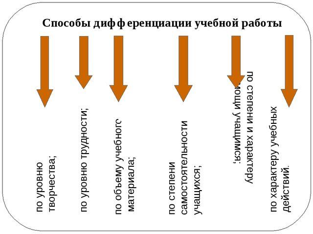 Способы дифференциации учебной работы по уровню творчества; по уровню труднос...