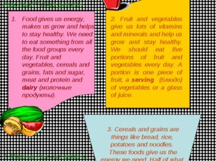 Unit 2: Healthy Eating 2. Listen to the text & write down the names of foods