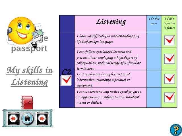 Language passport My skills in Listening ListeningI do this nowI'd like to...