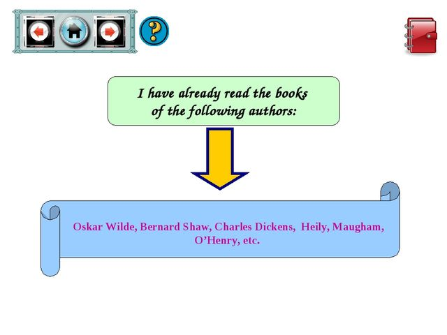 I have already read the books of the following authors: Oskar Wilde, Bernard...