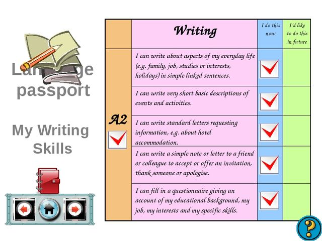 Language passport My Writing Skills WritingI do this nowI'd like to do thi...