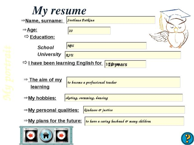 My resume Name, surname: Age: I have been learning English for School Univers...