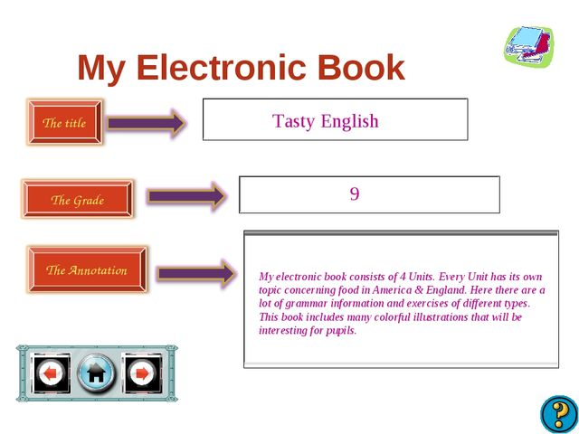 My Electronic Book Tasty English 9 My electronic book consists of 4 Units. Ev...