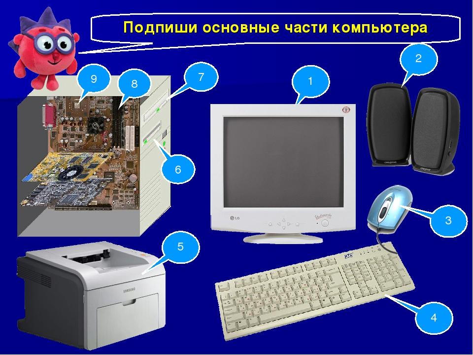 Подпиши основные части компьютера