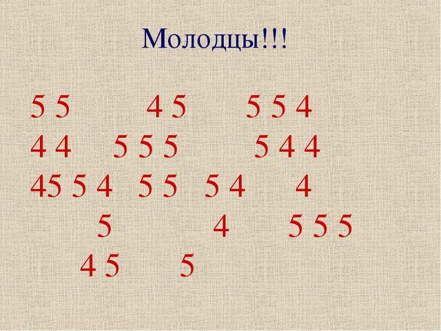 5 5 4 5 5 5 4 4 4 5 5 5 5 4 4 5 5 4 5 5 5 4 4 5 4 5 5 5 4 5 5 Молодцы!!!