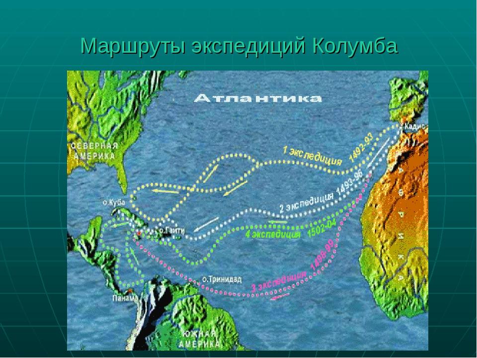 Маршруты экспедиций Колумба