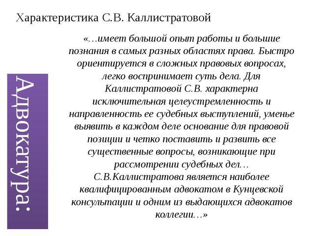 Адвокатура: «…имеет большой опыт работы и большие познания в самых разных обл...