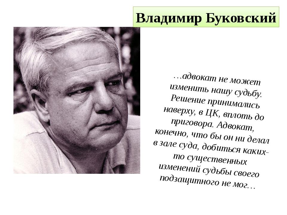 Владимир Буковский …адвокат не может изменить нашу судьбу. Решение принималис...