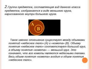 2.Группа предметов, составляющая вид данного класса предметов, изображается в