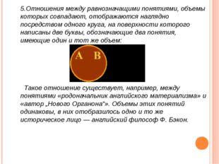 5.Отношения между равнозначащими понятиями, объемы которых совпадают, отображ