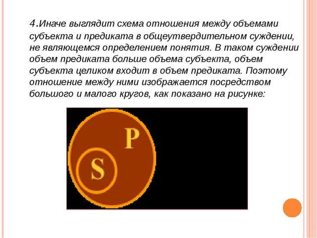 4.Иначе выглядит схема отношения между объемами субъекта и предиката в общеут...