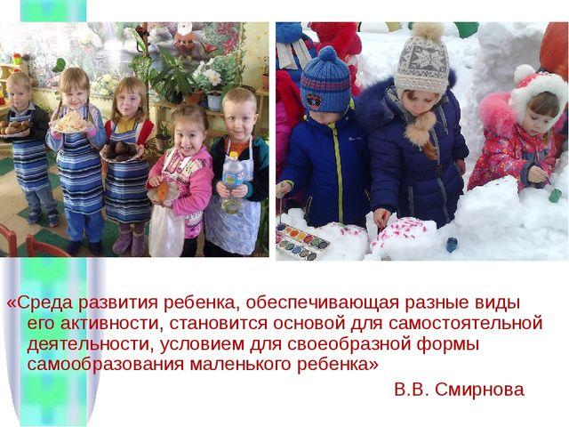 «Среда развития ребенка, обеспечивающая разные виды его активности, становитс...