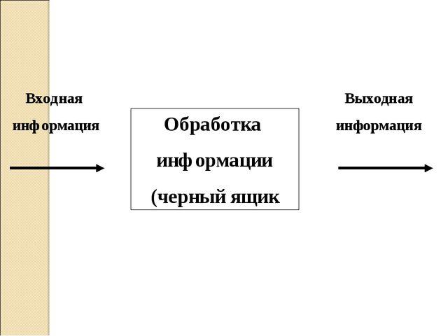 Обработка информации (черный ящик Входная информация Выходная информация