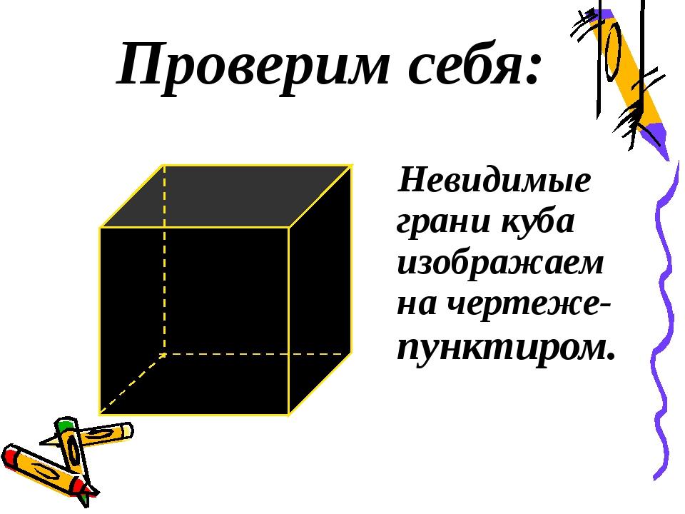 Проверим себя: Невидимые грани куба изображаем на чертеже- пунктиром.