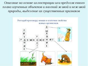 Описание на основе иллюстрации или предложенного плана изученных объектов и