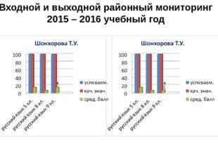 Входной и выходной районный мониторинг 2015 – 2016 учебный год