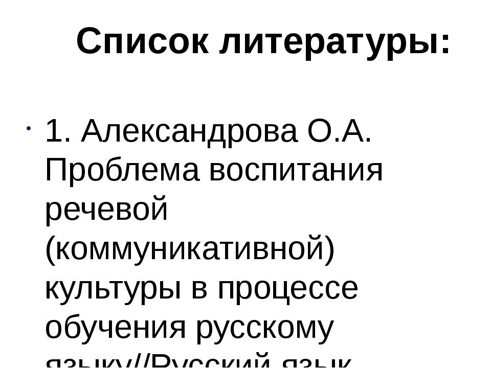 1. Александрова О.А. Проблема воспитания речевой (коммуникативной) культуры...