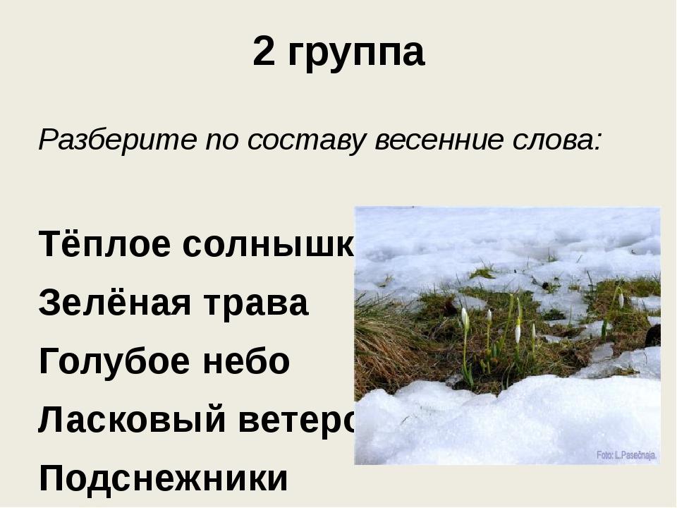 2 группа Разберите по составу весенние слова: Тёплое солнышко Зелёная трава Г...