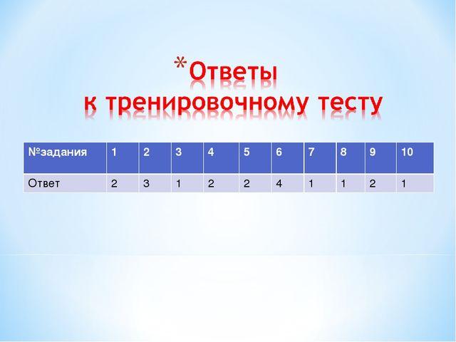 №задания123 45678910 Ответ2312241121