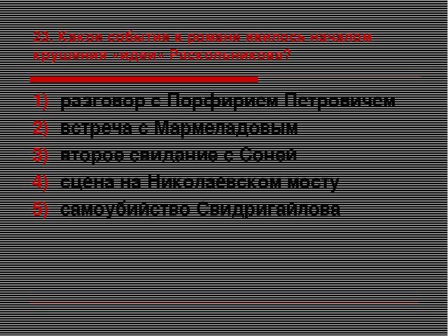 23. Какое событие в романе явилось началом крушения «идеи» Раскольникова? раз...