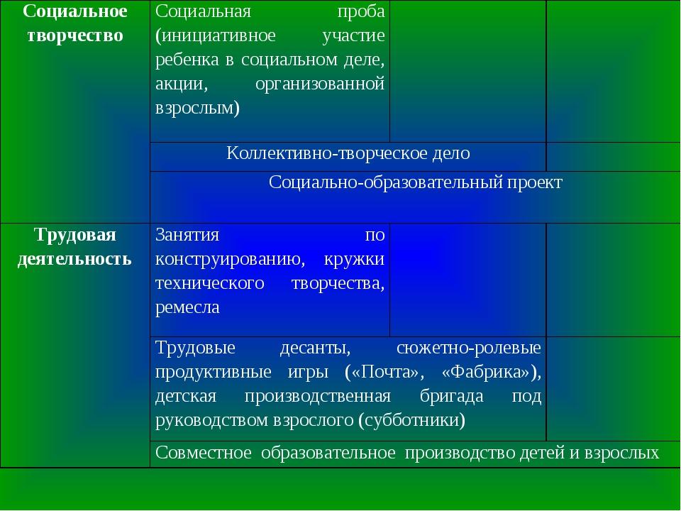 Социальное творчествоСоциальная проба (инициативное участие ребенка в социал...