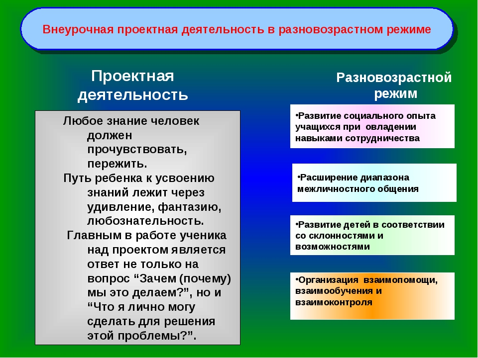 Внеурочная проектная деятельность в разновозрастном режиме Развитие социально...