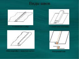 Виды швов Стачной шов в ребро Стачной шов взаутюжку Шов вподгибку с закрытым