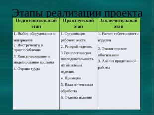 Этапы реализации проекта Подготовительныйэтап Практическийэтап Заключительный